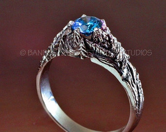 CRATER LAKE Blue Diamond Engagement Ring and Wedding Band, Mountain wedding rings made to order in either of 14k White, Yellow, or Rose gold