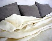 Linen blanket bedspread -Joie de Vivre- large linen bed cover, etra-wide French linen, top sheet, linen bedding, ivory white linen,