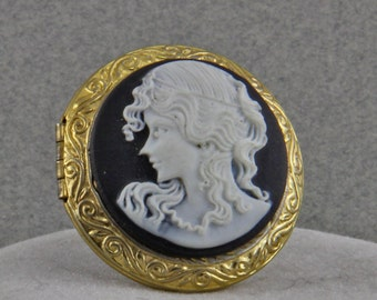 Cameo Locket Ring Apothacary Ring Adjustable size