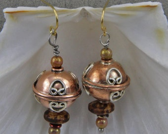 Handmade Czech Glass Copper and Silver Orb Dangle Earrings 14mm Orb