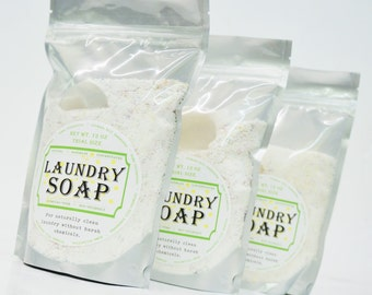 NATURAL LAUNDRY SOAP - Trial Size cleans up to 18 loads, laundry detergent, handmade