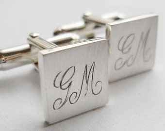 initial cuff links, groomsmen cuff links, engraved, sterling silver,  groom, wedding, best man gift, father of the bride, quality