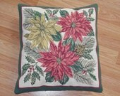 OOAK VINTAGE Tapestry CHRISTMAS Poinsettia  Pillow  16 x 17 Inches in Green Red Gold with Hollly, Pinecones, Pine branches