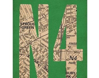 N4, Finsbury Park, Stroud Green, Harringay London Art Print