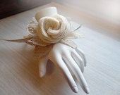 Sola Flower and Burlap & Lace Wrist Corsage. Rustic, Country, Woodland, Wedding, Corsage, Perfect for the Wedding Party. Made to Order.