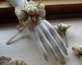 Will ship in 4 weeks. Wrist Corsage and/or Boutonniere, Sola Flowers, Burlap, Lace, Wheat, Rustic, Wedding, Corsage, Boutonniere.