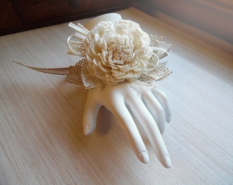 Will ship in 4 weeks ~~~ Sola Flower and Burlap & Lace Wrist Corsage. Perfect for the Wedding Party.