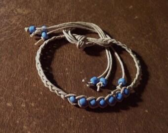 1 Hemp Wish Bracelet Blue Glass Beads Handmade Natural Hemp