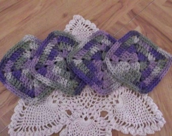 Crocheted Coasters set of 4 Variegated Lavender, Purple and Green 100 % Cotton Yarn Handmade