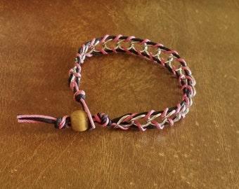 Clearance Hemp Bracelet Pink And Black Hemp Silver Chain 1 Cream Colored Wood Bead 7 3/4  Inches Handmade