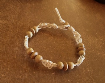 Clearance Hemp Bracelet Tan Wood Beads 8 Inches Handmade Natural White Hemp