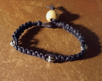 Clearance Black Hemp Bracelet 3 Antique Silver Beads 1 Large Tan Colored Wood Bead 7 1/2 Inches Handmade