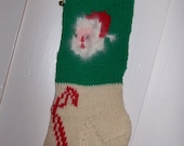 Hand Knit Wool Christmas Stocking  Santa Face Candy Canes Personalized. Available to ship