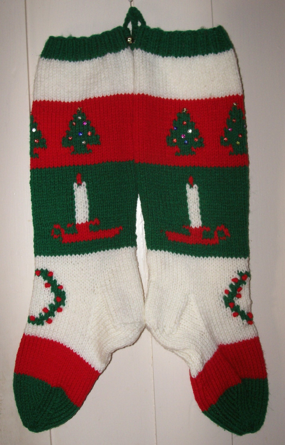 2017 Hand Knit Christmas Stocking Old Pattern Candle Trees