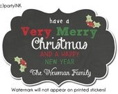 Personalized Chalkboard Christmas w/Holly Holiday Stickers - Fancy Frame Shaped Stickers - Gift Labels, Gift Stickers, Holiday