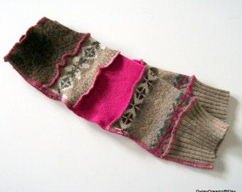 Fingerless Gloves, Arm Warmers with Thumb Holes, Fuschia, Tan, Brown,Boho, Hippie, Gypsy, Festival Wear