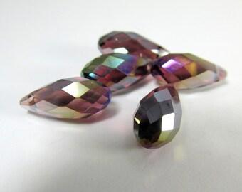 6 Plum Mauve Fuchsia AB Long 8mm x 16mm Crystal Briolette Teardrop Jewelry Beads - Top Drilled