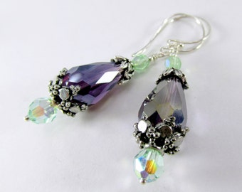 Amethyst Purple and Mint Green Earrings on sterling wires