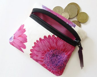 Pink daisy coin purse, change purse,  zipped pouch, small purse