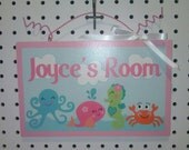 Under the Sea/Pink Whale- Personalized with any Name or Text! Wood Door Sign/Plaque Nursery Decor/Baby/Kids/Teachers