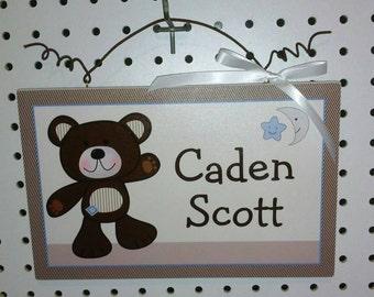 "Personalized ""B is For Bear"" Teddy Bear Canvas on Wood Door Sign/Plaque Nursery Decor/Baby/Kids/Teacher"