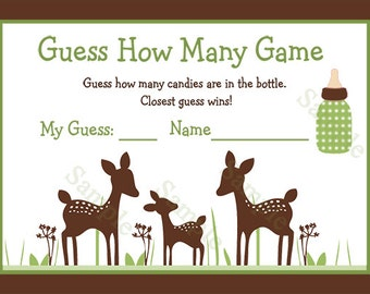"Printable ""Willow Deer Family"" Guess How Many Game Instant Digital Download"