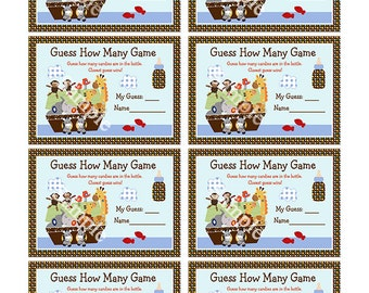 Noah's Ark Animal Pairs Baby Shower Guess How Many Game Instant Digital Printable Download