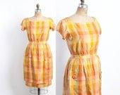 Vintage 50s DRESS / 1950s Suzy Perette SILK Yellow Pink & Orange PLAID Wiggle Dress M
