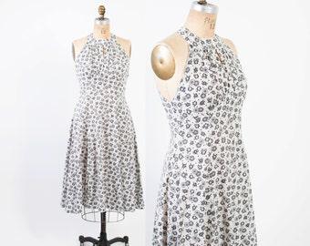 Vintage 50s DRESS / 1950s Floral Print Cotton Halter SUNDRESS Black and White with Full Skirt M