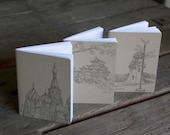 Travel Notebook, staple bound, letterpress printed eco friendly, gifts under 10