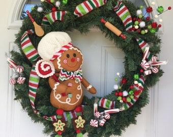 Christmas wreath, gingerbread man wreath, outdoor door decoration, front door wreath, door hanging, Christmas Decorations, winter wreath