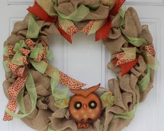 Fall wreath, fall burlap wreath, fall owl wreath, fall door decoration, outdoor door decoration, outdoor fall wreath, fall door wreath