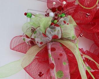Christmas wreath, deco mesh wreath, outdoor wreath, Christmas decoration, outdoor Christmas decoration, mesh wreath, door wreath