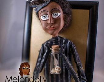 Debonair, Melandolly Paper Clay Doll in a Frame