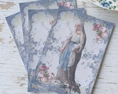 Religious notecards - My lady - blank cards - blue border with roses - shabby chic notecards - embellishments