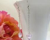 Venetian Soft Pink Mini Heart & Chain Earrings, Venetian Murano Glass Swarovski Crystal Sterling Earrings, Pink Green Hearts w Silverfoil