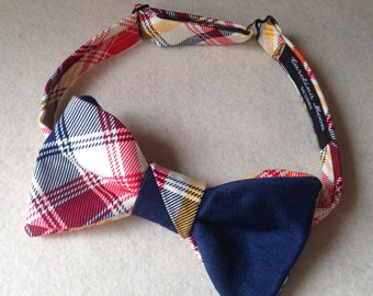 Plaid Bow Ties / Bow Ties Men / Red Navy Yellow And White Plaid Cotton Bow Tie / Pre-Tied Bow Ties / Wedding Bow Ties / Handmade Bow Ties