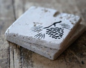 Pinecone Drink Coasters - Set of Four / Natural Tumbled Marble / Handmade Custom Hand Painted / Rustic Farmhouse Winter Home Decor