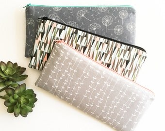 Gift for Coworker, Accessory Bag, Zipper Pouch, Gift for Her, Modern Grey Dandelions, White, Coral, Secret Santa Gift, Stocking Stuffer