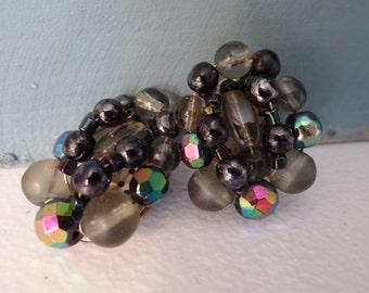 West Germany Oval Cluster Earrings