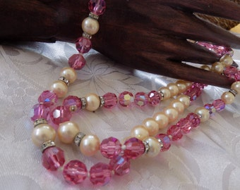Vintage necklace,retro faceted pink crystals,faux pearls elegant 33 inch necklace,jewelry