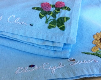 Hand embroidered tea towel - Flower Garden blue