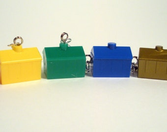 Recycled, Upcycled Monopoly Game, Hotel Pieces, Earrings