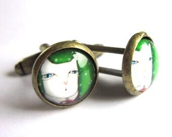 Cat Cufflinks Green and White Mens Jewelry