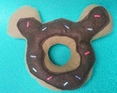 Mouse donut plushie with chocolate frosting and sprinkles Disney inspired play food