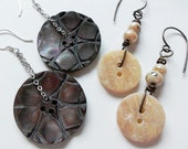 Carved Mother of Pearl Abalone Vintage Button Earrings