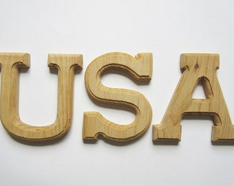 """3 Unfinished 6"""" Wood Letters USA with Ogee Edge"""