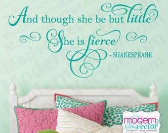 Shakespeare Quote She Is Fierce Vinyl Wall Decal Lettering Nursery Girls Room