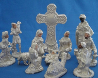 Pearl White painted Nativity Set