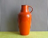 RARE Mid Century Modern West German Studio Pottery Handled Vase in Orange by Gräflich Ortenburg